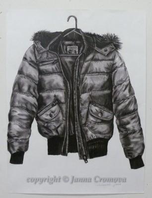 Coat - conte on paper, 59x78cm