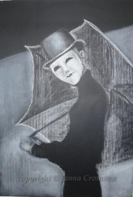 Mask and umbrella - white conte on black paper, 32x47cm