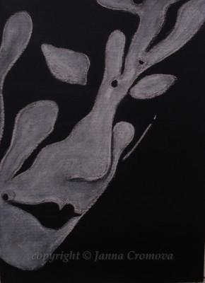 Mask - white conte on black paper, 24x33cm