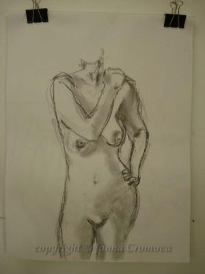 Model - conte on paper, 45x61cm