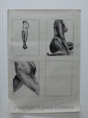 Nude; details, black conte on paper, 63x87cm