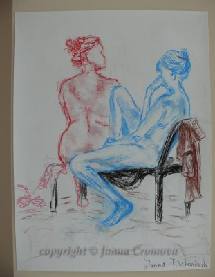 Two models - conte on paper, 45x61cm