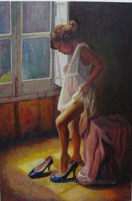 Trying on Mom's Shoes - oil on canvas, 24x36