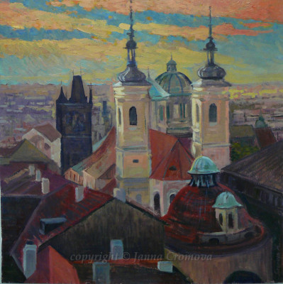 Prague - oil on board, 2012, 61x61cm