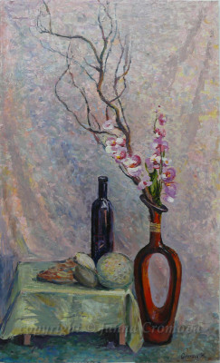 Life with Orchids - oil on board, 2009, 15.25x25.25