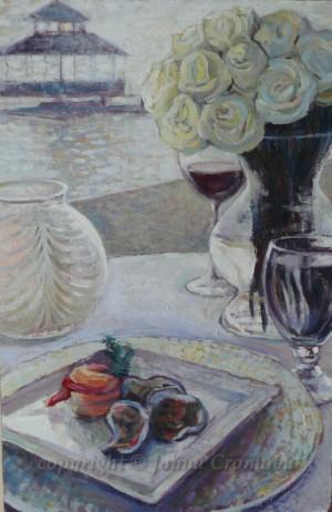 "White Roses - Oil on board, 2012, 15x22.8"" (35x58cm)"