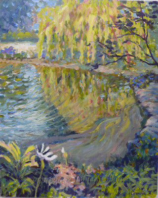 Willows on the Pond - oil on board, 2010, 15.75x19.75