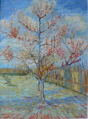 Following Van Gogh, Peach Tree in Blossom - oil on canvas, 2010, 46x41cm