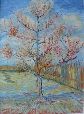 Following Van Gogh, Peach Tree in Blossom - oil on canvas, 2010, 46x41cm