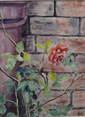By the Brick Wall - watercolour, 19.5x26cm