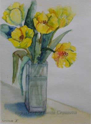 Yellow Tulips - watercolour, 21x28cm