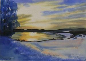 Frosty Sunset - Watercolour