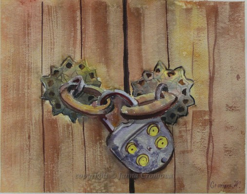 Old Lock - watercolour, 26x34cm
