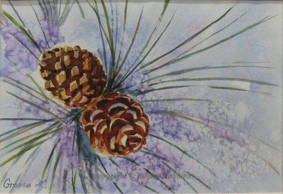 Pine Cones - watercolour, 19x28cm
