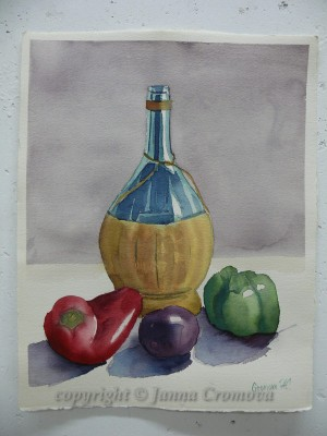 Still Life with a Bottle - watercolour, 27x35cm