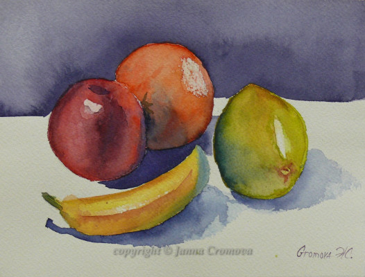 Still life with Fruits - watercolour, 18x25cm