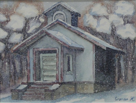Winter House - watercolour, 20x26cm