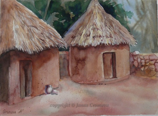 Thatched Roof Houses in Mexico - watercolour, 21x29cm