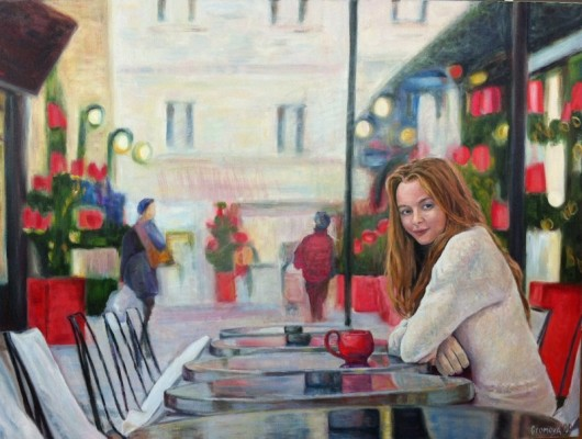 Winter Cafe - oil on canvas, 40 x30